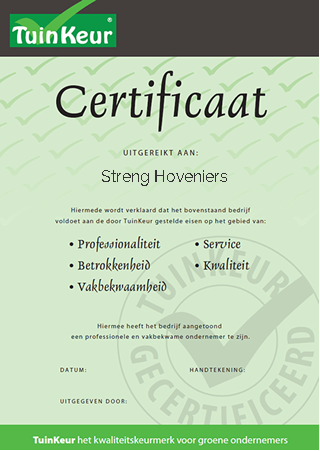 Streng Hattem Hovenier & grondwerken | Tuinkeur Hovenier certificaat